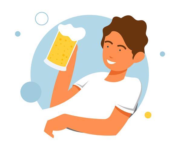 Mecs, boire, bière, illustration