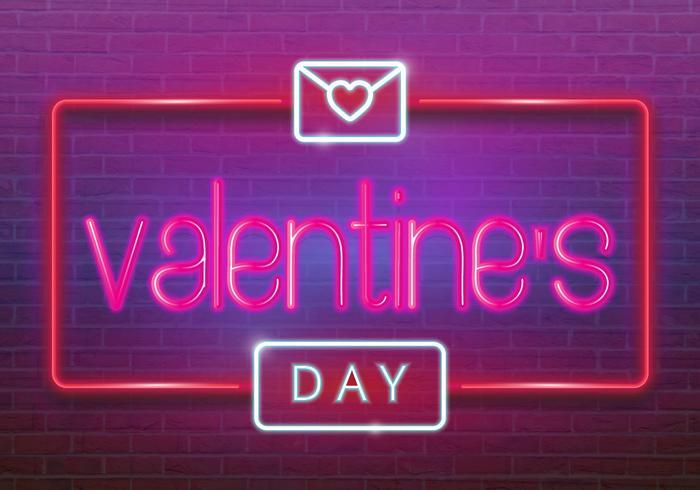 Logotipo de neón, etiqueta, emblema. Feliz día de San Valentín. Letrero de neón, letrero luminoso, estandarte ligero.