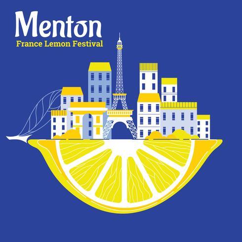 Lemon Festival o Fete du Citron a Mentone in Costa Azzurra vettore
