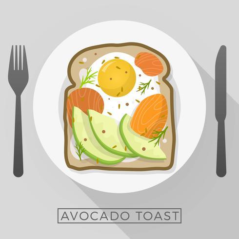 Flat Tasty Avocado Toast Till Frukost Vector Illustration