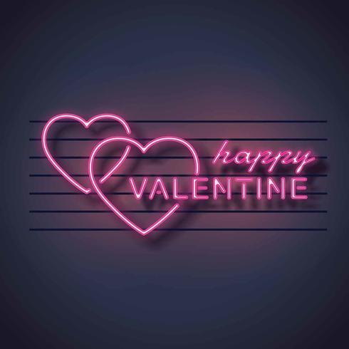 segno al neon di vettore di San Valentino