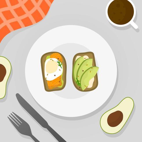 Il menu piano della prima colazione ha messo con l'illustrazione di vettore del pane tostato dell'avocado