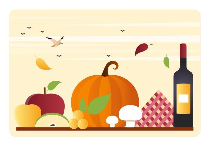 Ilustración de la cena de acción de gracias