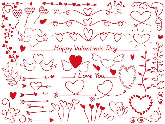 Set of assorted graphic elements for Valentine's Day.