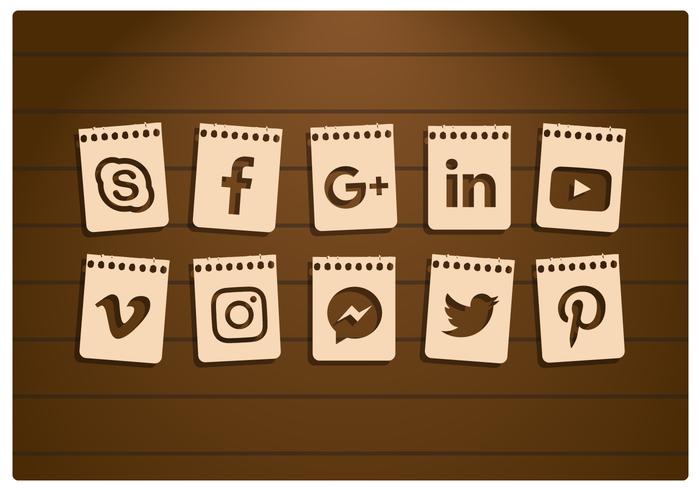 Conjunto de iconos de papel de redes sociales vector