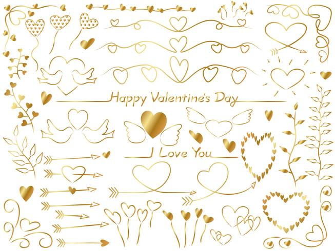Set of assorted graphic elements for Valentine's Day