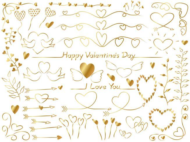Conjunto de elementos gráficos surtidos para el día de san valentín.