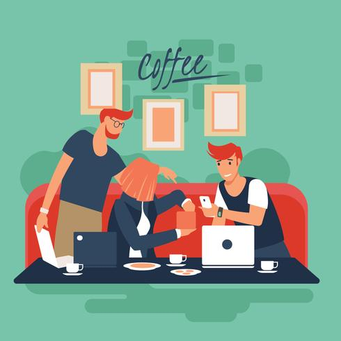 Business People at a Coffee Shop vector