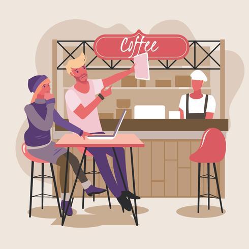 Giovane coppia in un coffee shop con laptop Godetevi i social media vettore
