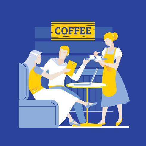 Giovane coppia in un Coffee Shop utilizzando Touch Screen Gadget e Laptop
