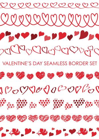 Set of Valentine's Day seamless borders. vector