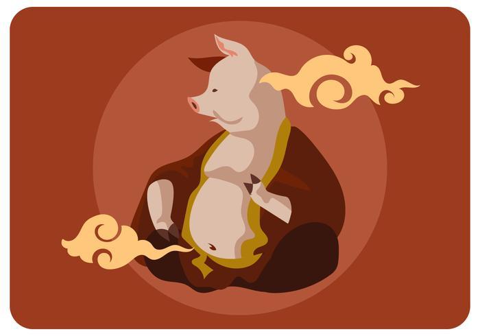 vettore di mitologia dio maiale chinesse