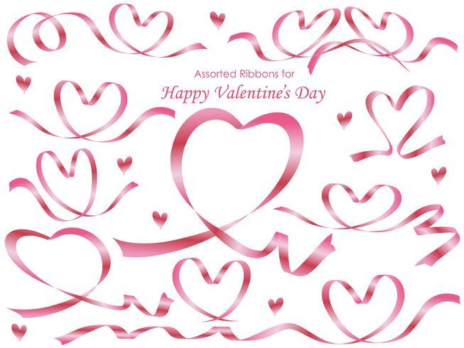 Conjunto de cintas de color rosa dispuestas en forma de corazón.