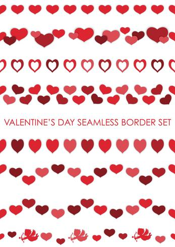 Set Of Valentine S Day Seamless Borders Download Free Vector Art