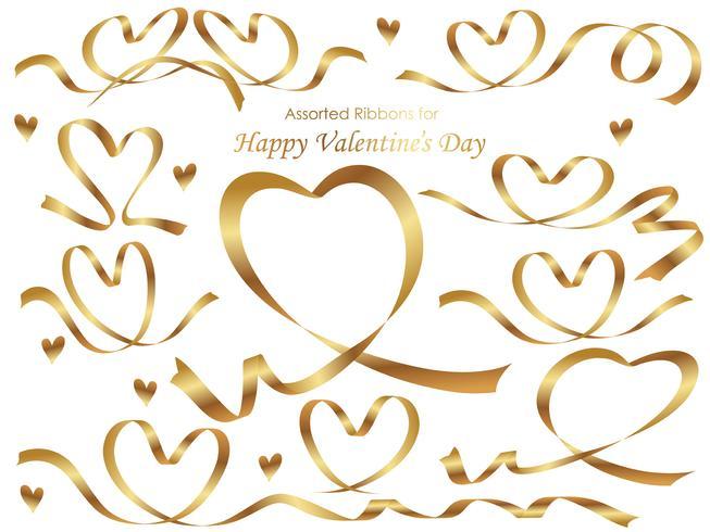 Ensemble de rubans d'or disposés en forme de coeur.