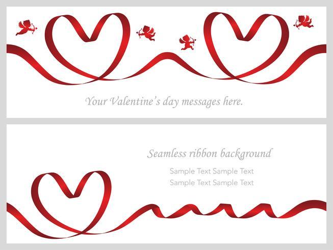Conjunto de dois cartões de dia dos namorados com fitas vermelhas sem emenda.