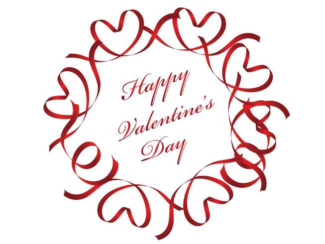 Cadre cercle rouge Saint Valentin composé de rubans.