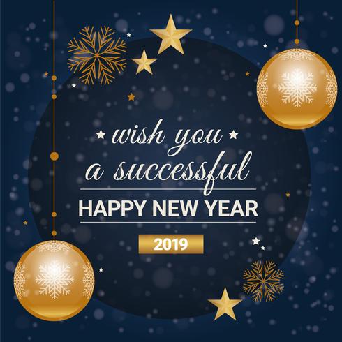 Disegno di cartolina d'auguri di nuovo anno di vettore