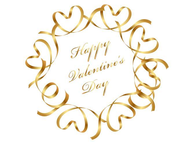 Cornice del cerchio d'oro di San Valentino composta da nastri. vettore