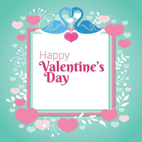 Couple de cygnes, coeur et s'épanouir sur un cadre carré pour la Saint-Valentin