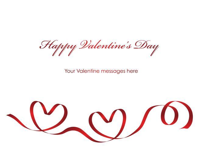 Modello di carta di San Valentino con un nastro rosso e lo spazio del testo.