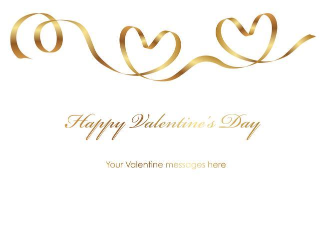 Plantilla de tarjeta de San Valentín con un espacio de cinta y texto de oro.