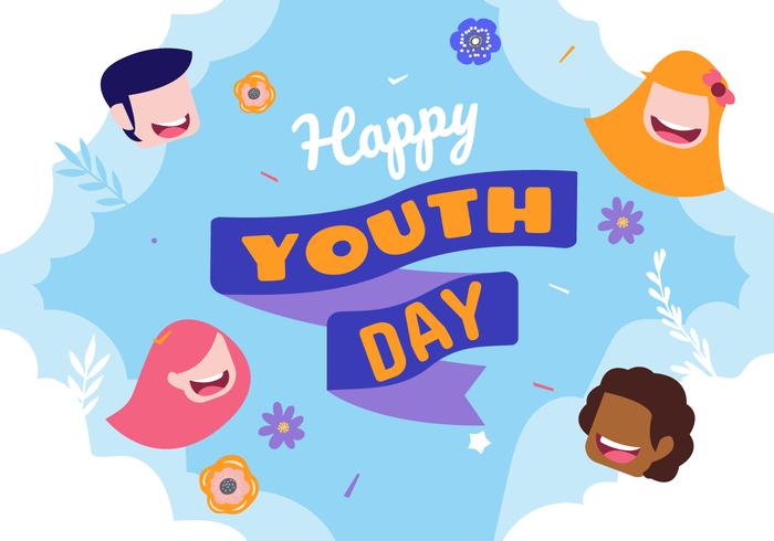 Celebrando l'illustrazione del fondo di vettore di giorno della gioventù del mondo