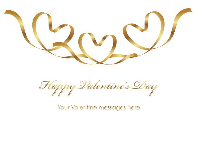 Valentinsgrußkartenschablone mit einem Goldfarbband- und -textraum.