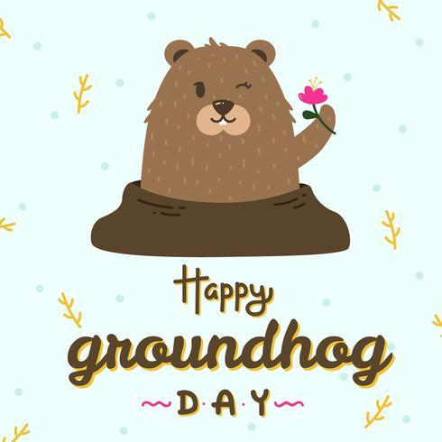 Felice giorno della marmotta vettoriale
