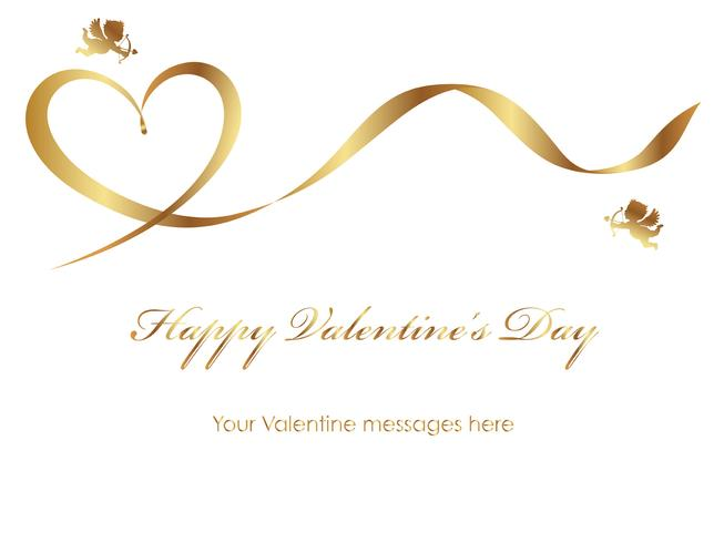 Valentine card template with a gold ribbon, cupids, and text space.