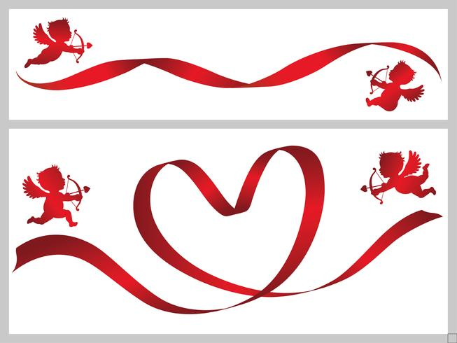 Set of two Valentine card templates with red ribbons and cupids. vector