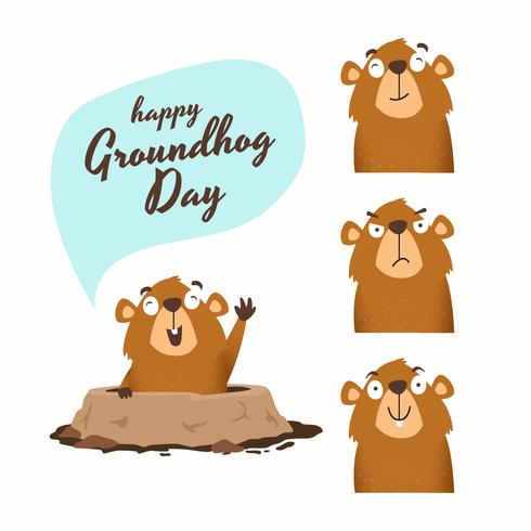 Happy Groundhog Day Vector Illustration