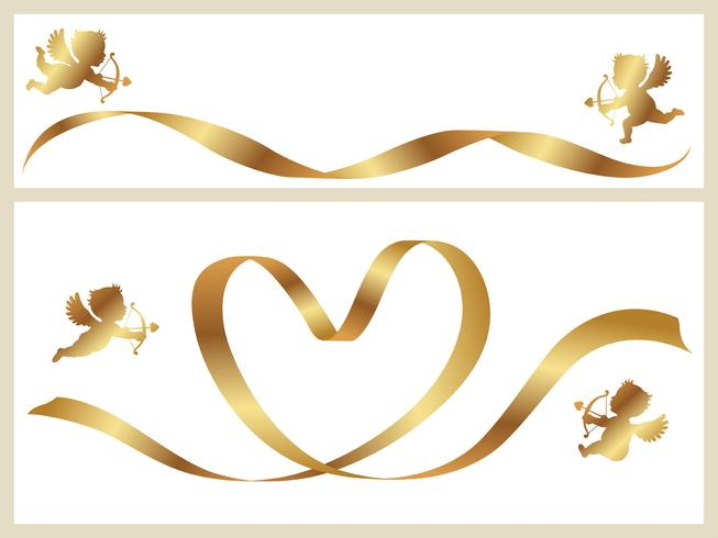 Set van twee Valentine-kaartsjablonen met gouden linten en cupido's. vector