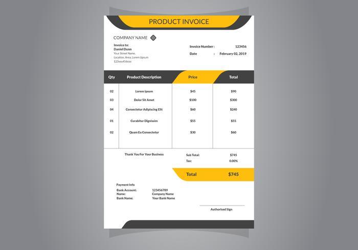 Modello di documento di fattura vettore