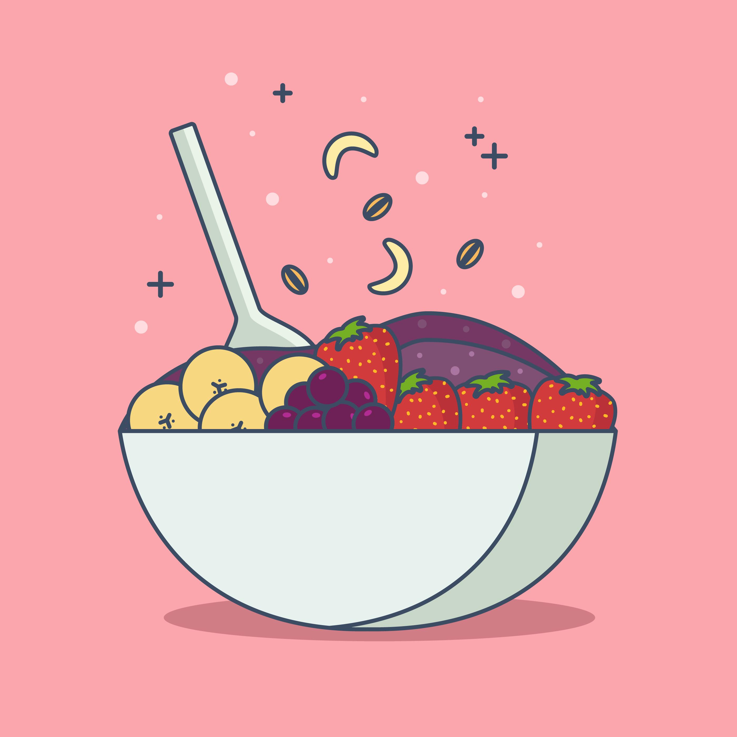 Color Acai Bowl Vector Illustration - Download Free ... (2800 x 2800 Pixel)