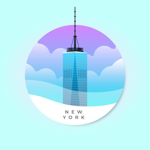 Freedom Tower Building NYC Famous Landmark Illustration