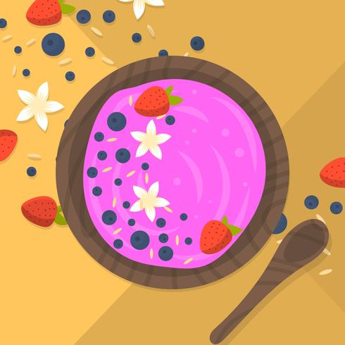 Flat Colorful Acai Bowl
