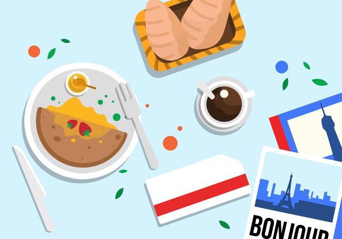 Paris-Lebensmittel-Draufsicht-Vektor-Illustration