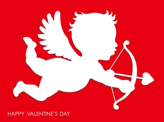 Valentine's Day 3D relief cupid icon. vector