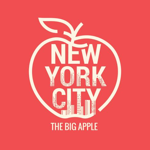 Gran Manzana. Símbolo de la ciudad de Nueva York con el fondo del horizonte