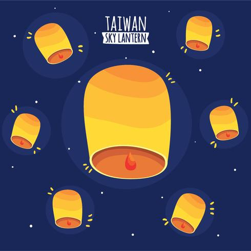 Vettore del fondo della lanterna del cielo di Taiwan