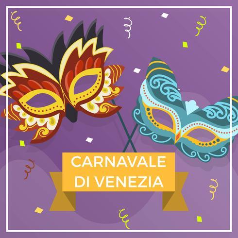Máscara de Carnevale Di Venezia, ilustración vectorial de fondo