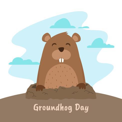 Ground Hog Day Vector Illustration
