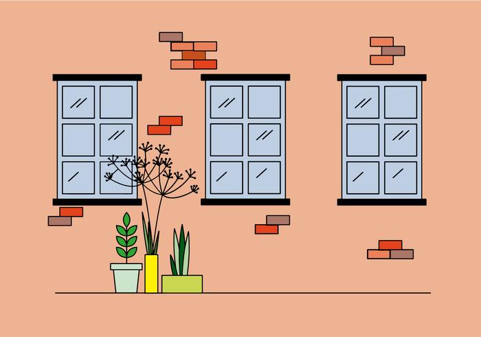 finestre e piante piatte vettore