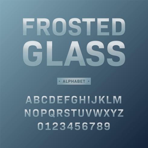 Conjunto de vetor de alfabeto de vidro fosco