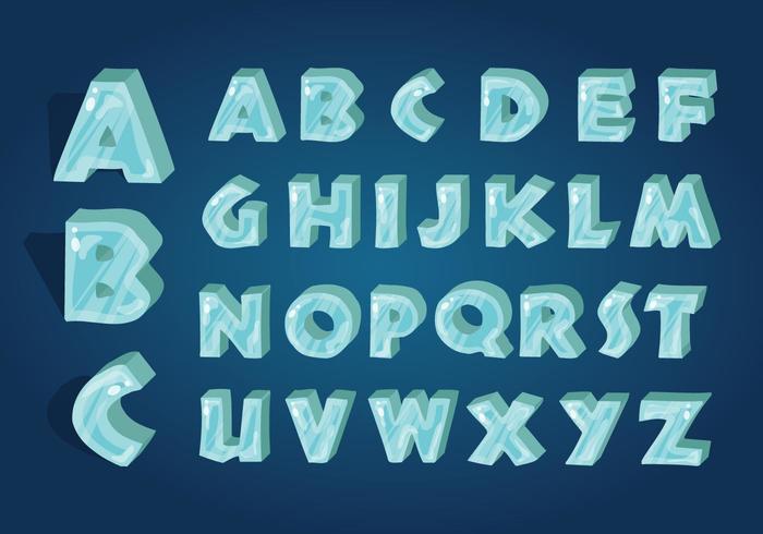 Vettore di alfabeto ghiacciato