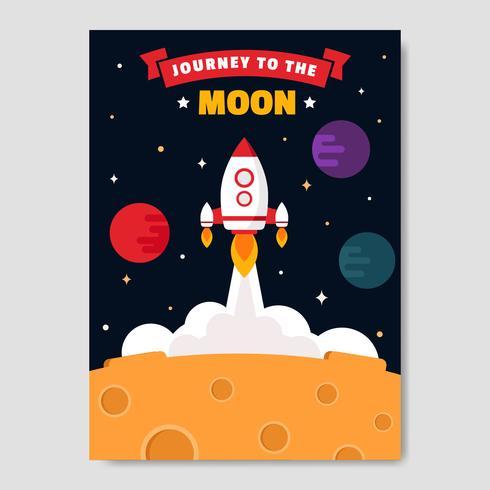 Reis naar de maan Poster Vector