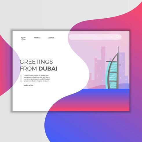 Plat moderne Dubaï Burj Al Arab Jumeirah Landing Page Illustration vecteur