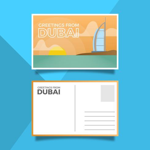 Flat Dubai Landmark Burj Al Arab Jumeirah Vykort Vector Illustration