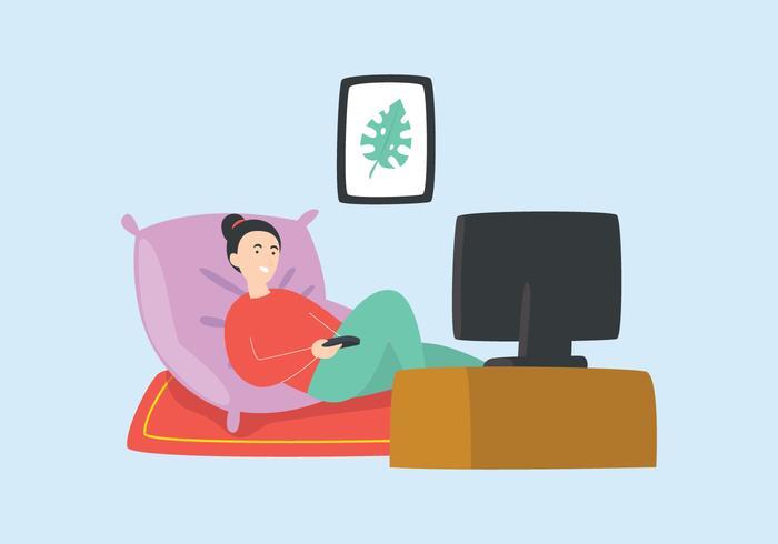 Ragazza che guarda TV vettore